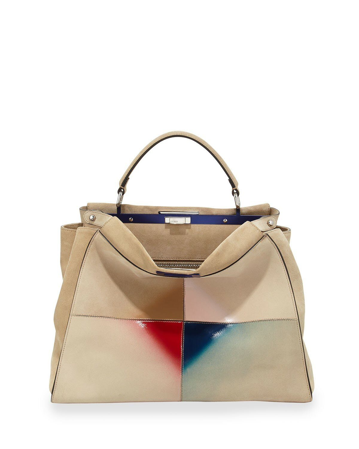 Fendi peekaboo large patent patchwork tote bag nude multi,accessories usa,discount sale usa