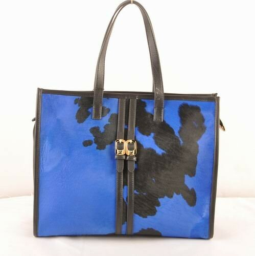 Fendi black ferrari leather with black/blue cowhair leather shopping tote bag,online here chicago,online chicago
