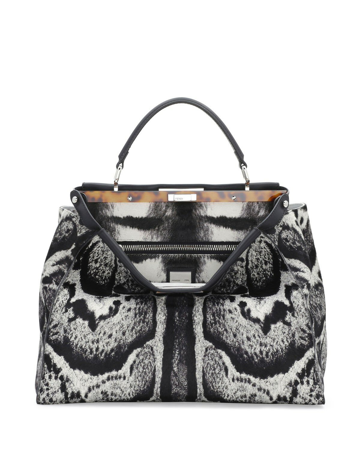 Fendi peekaboo large calf hair satchel bag white/black,exclusive deals chicago,exclusive chicago