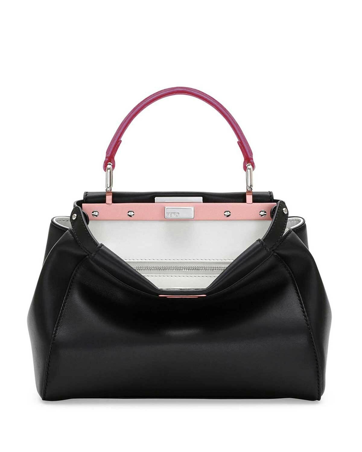 Fendi peekaboo mini tricolor satchel bag black/red/fuchsia,complete in specifications usa,competitive price usa