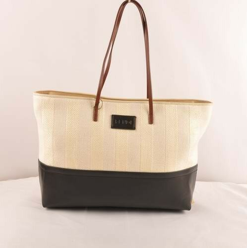Fendi black leather with beige striped linen tote bag,free shipping miami,free delivery miami