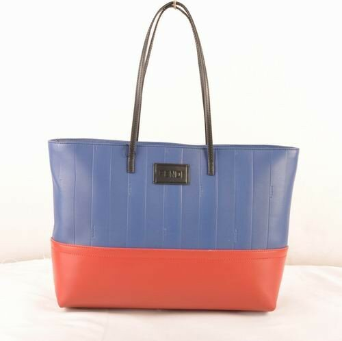 Fendi blue soft calfskin leather with red leather tote bag,high quality guarantee boston,great deals boston
