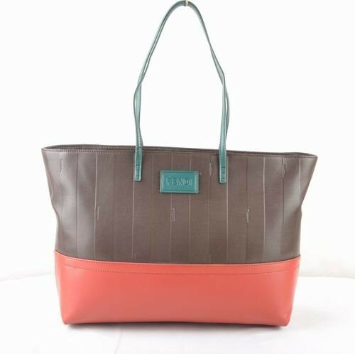 Fendi coffee soft calfskin leather with red leather tote bag,outlet boutique atlanta,outlet atlanta
