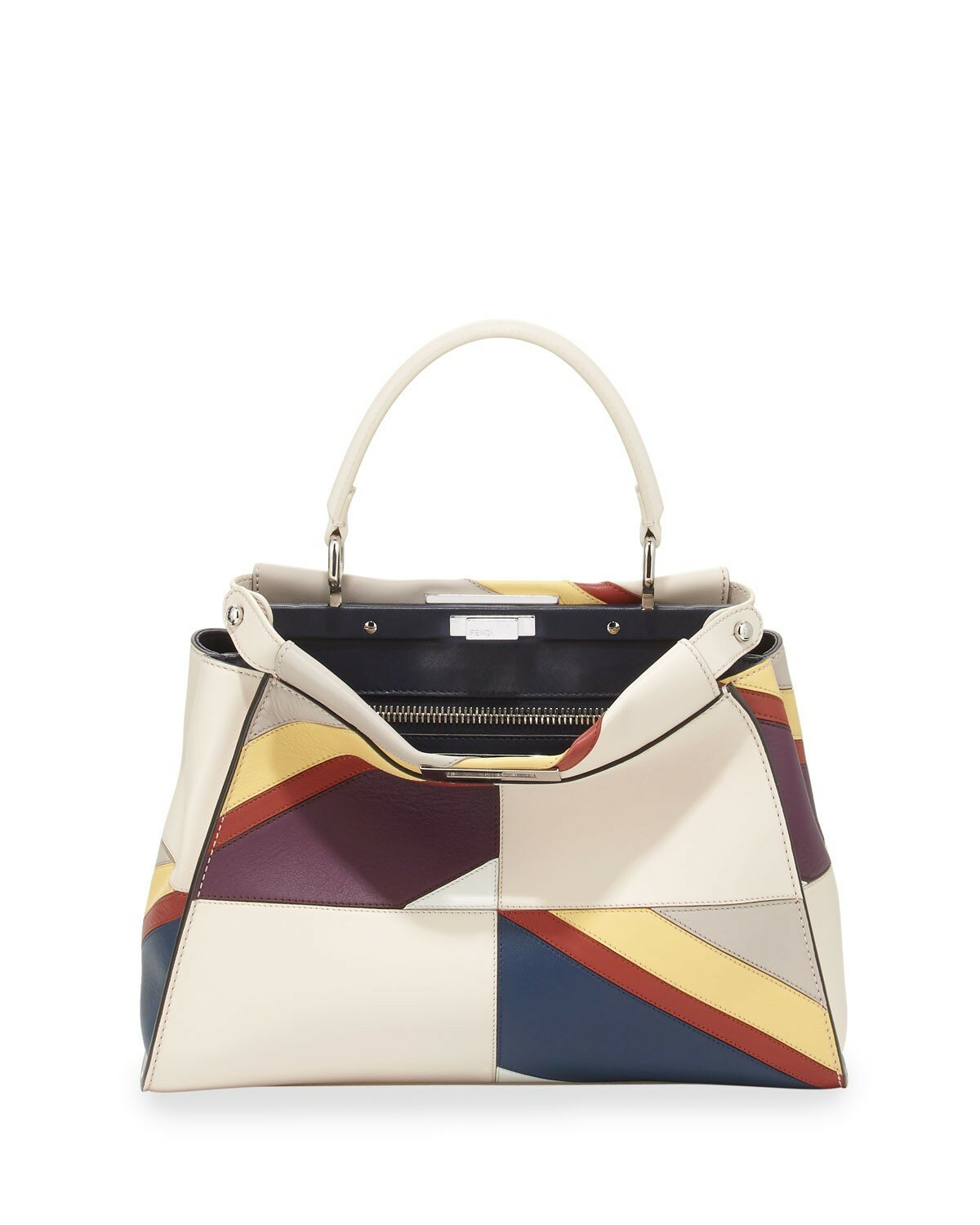 Fendi peekaboo medium patchwork marquetry calf bag white multi,entire collection new york,enjoy great discount new york