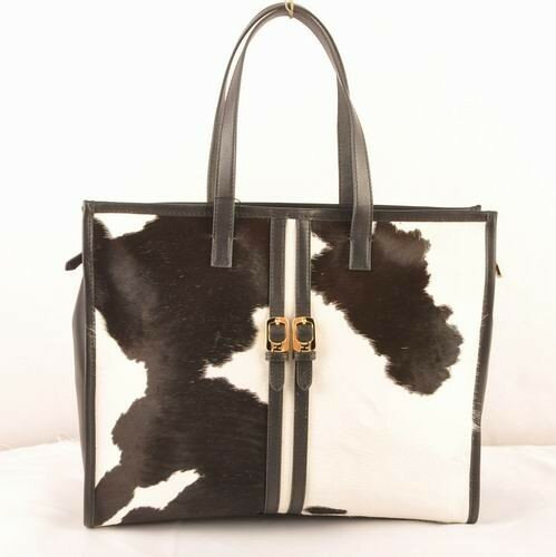 Fendi black/white ferrari leather with black cowhair leather shopping tote bag,promo codes miami,professional online store miami