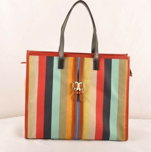 Fendi black/earth yellow leather with multicolor fabric shopping tote bag,wholesale online los angeles,wholesale dealer los angeles