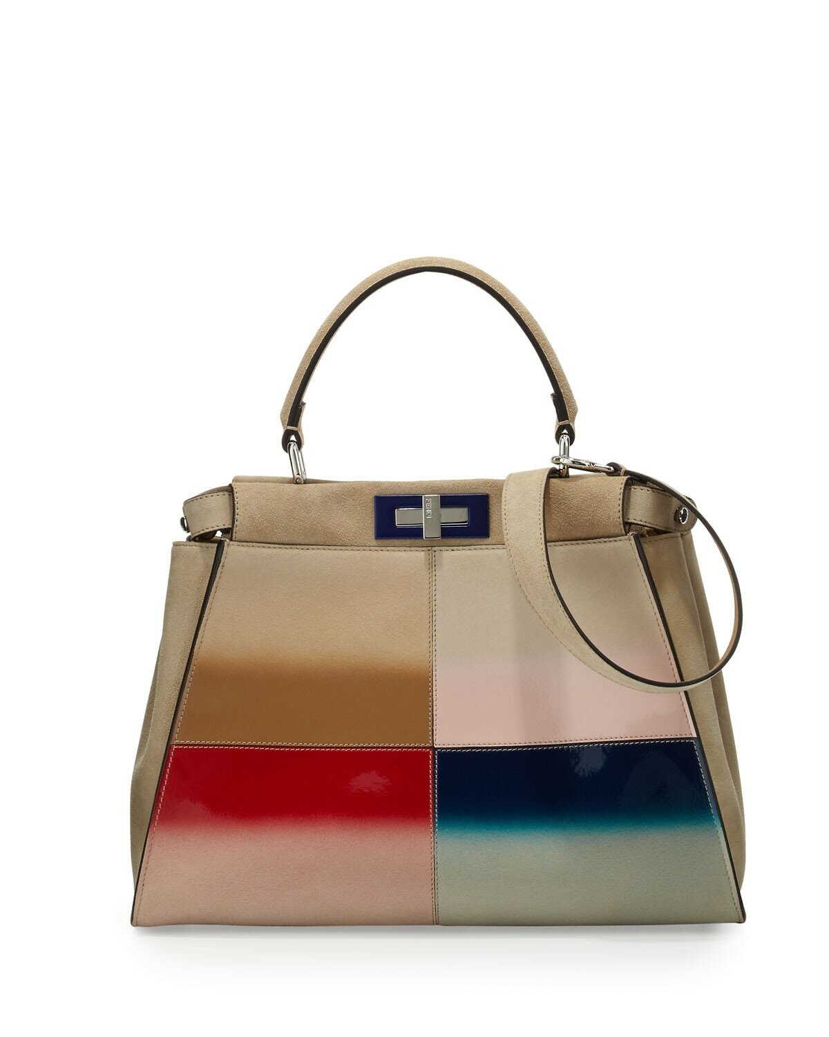 Fendi peekaboo medium gradient patchwork tote bag nude multi,100% authentic new york,discount shop usa