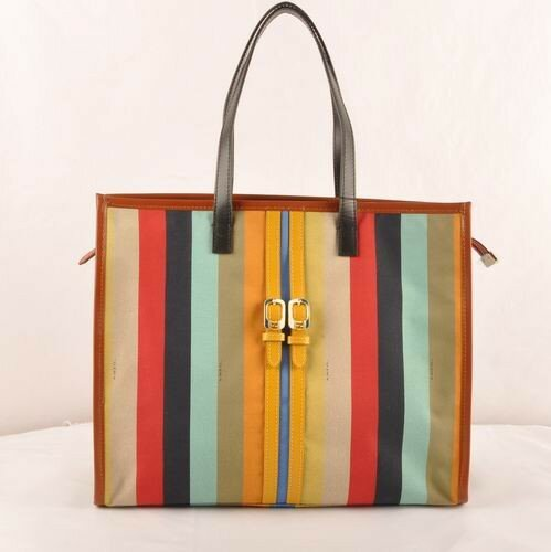 Fendi black/yellow leather with multicolor fabric shopping tote bag,new arrival miami,multiple colors miami